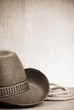 vintage brown cowboy hat and rope at wood