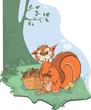 The squirrel and acorns. Cartoon