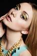 beautiful make up portrait over black background