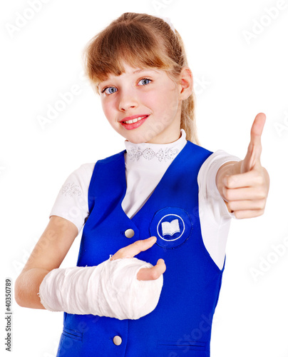Child with broken arm.