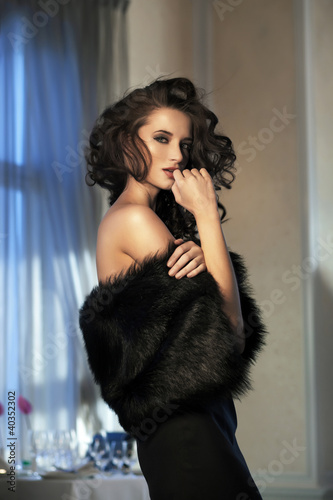 Beauty woman wearing fur