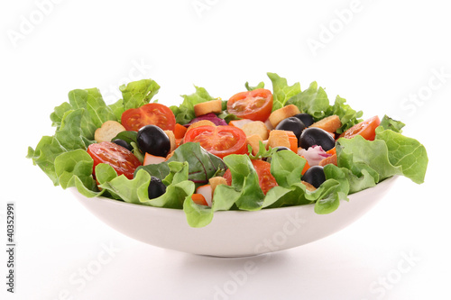 mixed salad on white