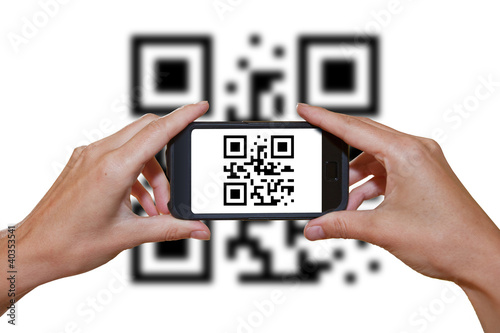 canvas print picture QR Code, Smartphone