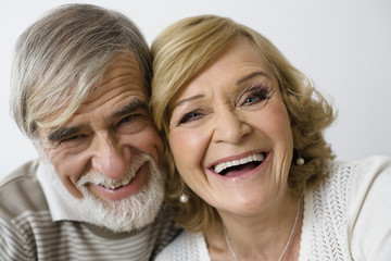 Senior couple, smiling, close-up