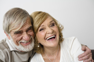 Senior couple, smiling, portrait