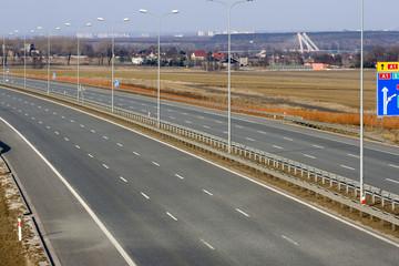 Empty A1 motorway in Poland