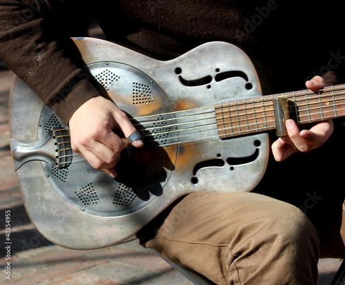 Steel Blues Guitar being played - 40354955