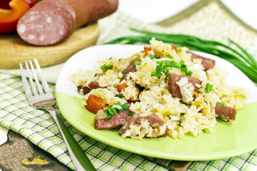 Rice with vegetables and sausage