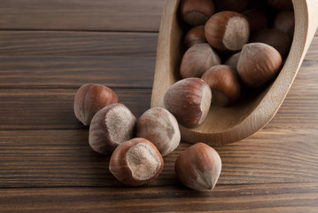 Hazelnuts Off A Wooden Food Scoop