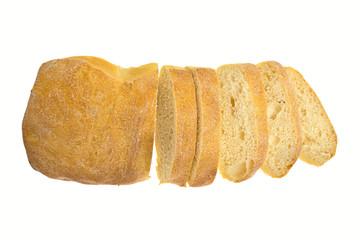Fresh bread ciabatta  isolated on white background