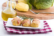 Savoy cabbage and potato croquettes.Crocchette di verza e patate