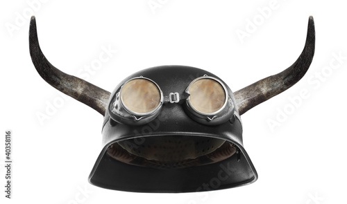 Retro motorcycle helmet with bull long horns.