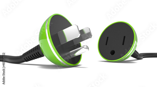 electric power cable, plug and socket unplugged