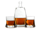 Whiskey cup and bottle
