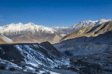 Himalaya mountains during sundown