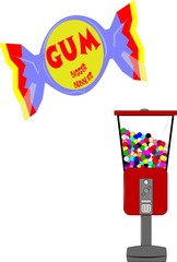 wrapped gum ball as well as gumball machine