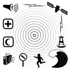 Tsunami Icons. Earthquake, epicenter, satellite, wave, siren.