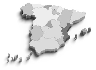 3d Spain grey map on white