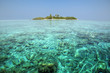 Turquoise Lagoon / Atoll with beach on the Maldives (Malediven)