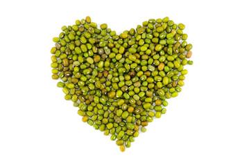 Heart symbol made of green bean