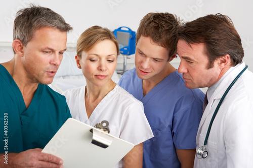 American medical team working on hospital ward
