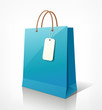 Shopping paper bag blue empty, vector illustration