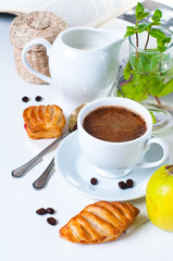 breakfast, coffee, pastries and fruits