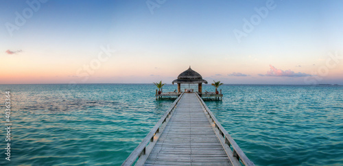 Beautiful wooden balk with pavilion (Maldives / Malediven)