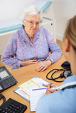 Senior woman patient with UK nurse