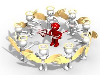 Démon encerclé par plusieurs anges