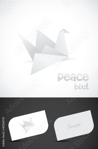 Paper bird logo design with business card templates