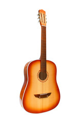 acoustic classical guitar isolated on white (clipping path)
