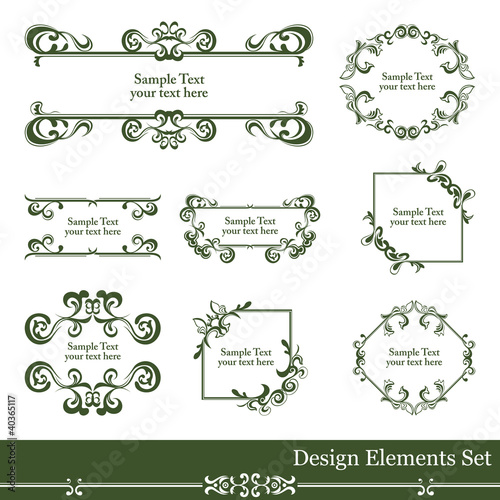 Retro design elements set