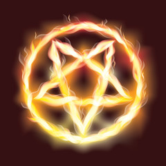 Satanic fire pentagram , vector illustration