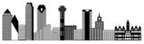 Dallas City Skyline Panorama Clip Art