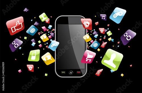 Global smartphone apps icons splash