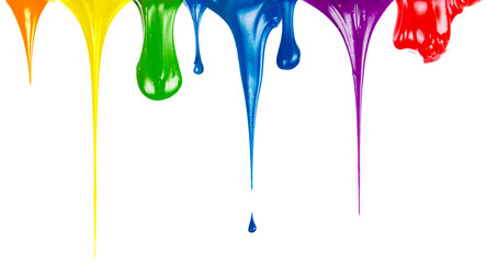 Paints dripping isolated on white