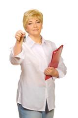 Senior woman with folder and keys