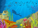 Cartoon colored coral reef and diver