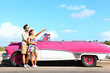 Vintage car - couple pointing
