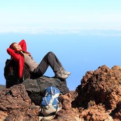 Resting relaxing hiker