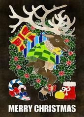 クリスマスカード用イラスト(トナカイとクリスマスリース)