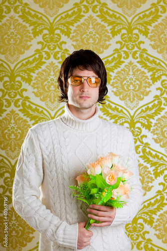 retro hip man holding valentines flowers