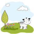 spring greeting card with zebra