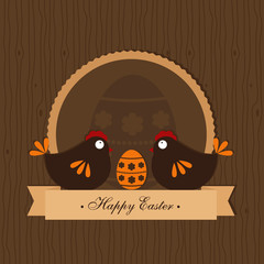 easter design on wooden background