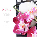 Fototapety Spa setting with purple orchid and candle