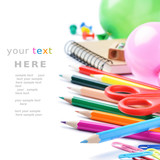 Fototapety School stationery isolated over white