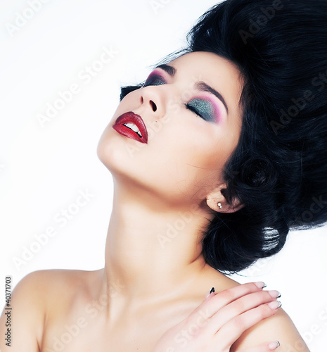 Sensuality - sexy young woman with closed eyes beauty portrait