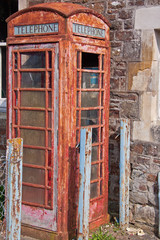 Disused traditional UK phone box