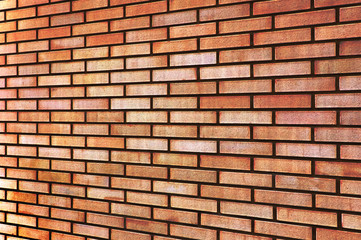 Grunge Red yellow beige tan fine brick wall texture perspective
